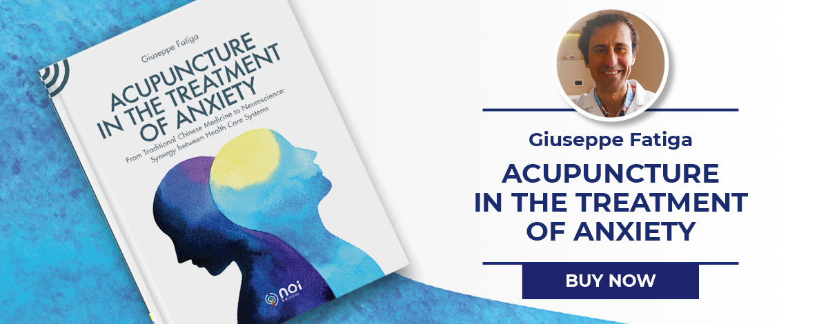 """This i a picture of Giuseppe Fatiga and his book """"Acupuncture in the treatment of anxiety"""""""